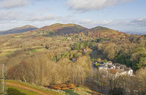 Looking north along the Malvern Hills, Worcestershire.