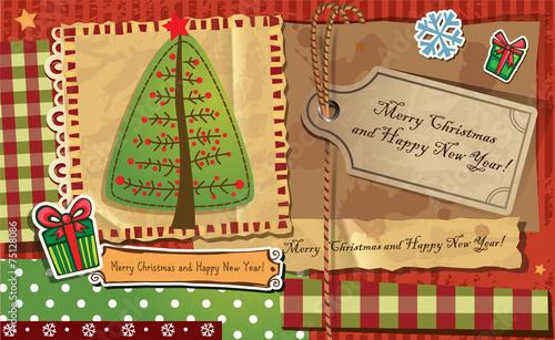 Scrapbook Christmas greeting card. - 75128086