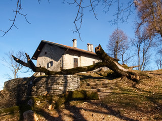 Church of Mount St. George with a fallen tree outside.