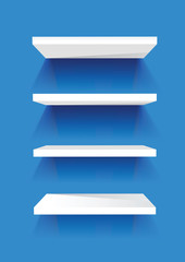 shelf on the blue background