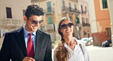 Happy Business Teamwork Attractive Businessman Businesswoman