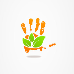 Abstract hand leaf vector