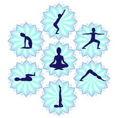 Silhouettes in yoga poses in mandalas