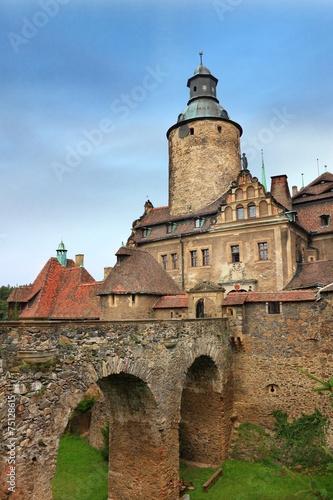 Bridge to old castle Czocha in Poland - 75128615