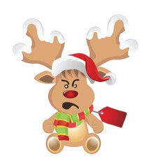 Cartoon reindeer with face emotions