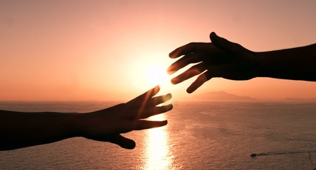 Hands Touching Sunset Holding Togetherness Human Humanity Unity