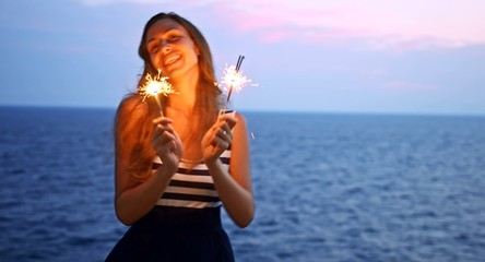 Beautiful Woman Dancing Beach Sunset Waterfront Sparkling Fire