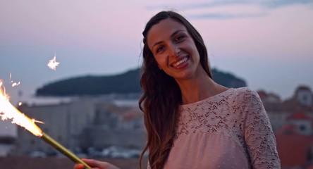 Joyful Happy Young Woman Beauty Summer Night Vacation Europe