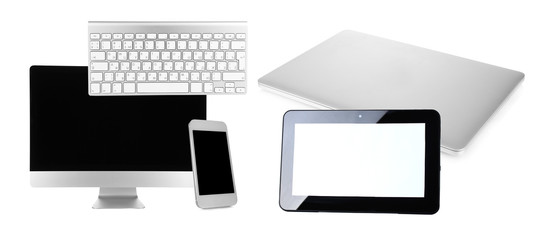 Computer, laptop, tablet and phone in collage isolated on white