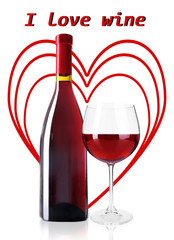 Bottle and glass of red wine with red hearts