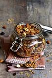 Granola in a glass jar.