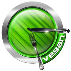Vegan Restaurant - Green and Metal Icon