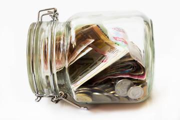 Money jar,  white background