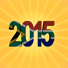 South Africa flag 2015 text on sunburst illustration