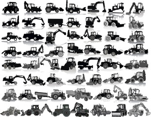 Set of 55 silhouettes of a tractors of road service