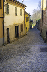 Old city center of Govone (Cuneo). Color image