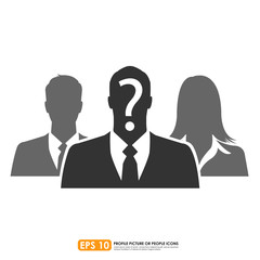 Businesspeople icon with question mark sign