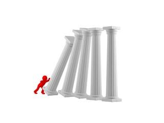 A man pushes white columns