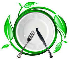 Healthy Food - Green Icon with Leaves