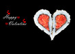 Two pieces of sushi forming the heart shape, Happy Valentine day - 75132672