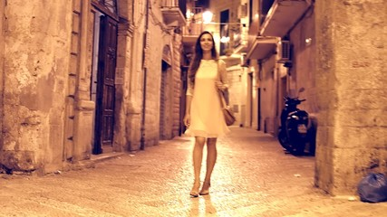 Gorgeous Beautiful Young Woman Walking Europe Town Streets