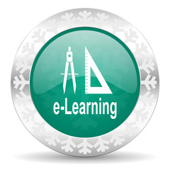learning green icon, christmas button