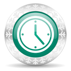 time green icon, christmas button, watch sign