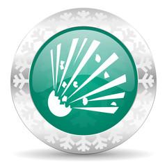 bomb green icon, christmas button