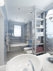 Bathroom in classic style, in blue colors