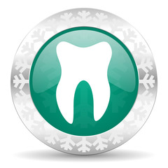 tooth green icon, christmas button