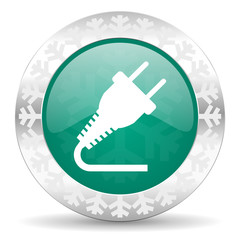 plug green icon, christmas button, electricity sign