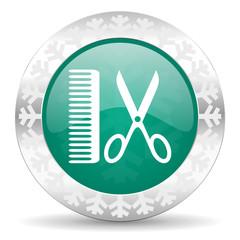 barber green icon, christmas button