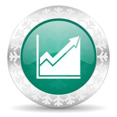 histogram green icon, christmas button, stock sign