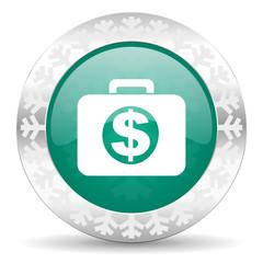 financial green icon, christmas button