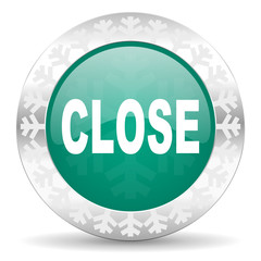 close green icon, christmas button