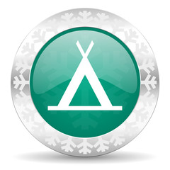camp green icon, christmas button