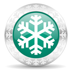 snow green icon, christmas button, air conditioning sign