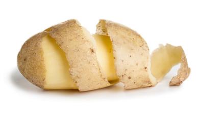 Raw potato with cutting peel