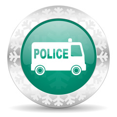 police green icon, christmas button