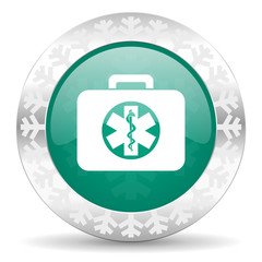 rescue kit green icon, christmas button, emergency sign