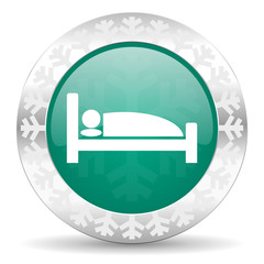 hotel green icon, christmas button, bed sign