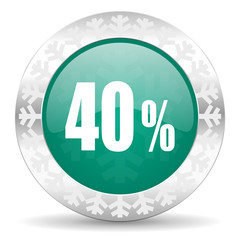 40 percent green icon, christmas button, sale sign