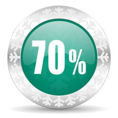 70 percent green icon, christmas button, sale sign