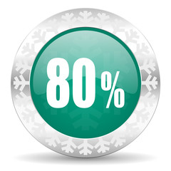 80 percent green icon, christmas button, sale sign