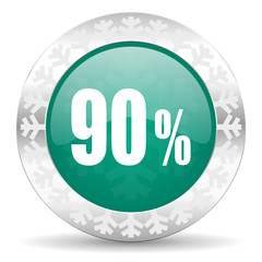 90 percent green icon, christmas button, sale sign