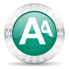 alphabet green icon, christmas button