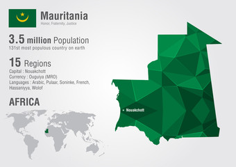 Mauritania world map with a pixel diamond texture.