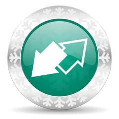 exchange green icon, christmas button