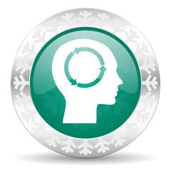 head green icon, christmas button, human head sign