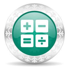 calculator green icon, christmas button, calc sign